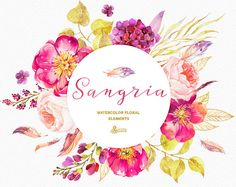 Sangria. Burgundy and gold floral Elements, watercolour handpainted clip art…