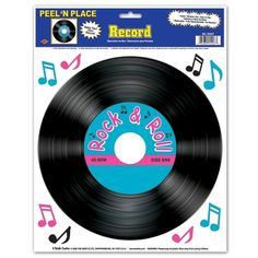 """A great decoration to add some old-school feel to your theme party, our Fabulous 50s Party Peel-and-Place Decorative Record makes it easy!  This is an 11"""" wide adhesive sign designed to look like a genuine vinyl 45.  It says """"Rock"""