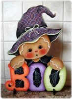 HP GINGERBREAD Witchy-BOO Halloween SHELF SITTER