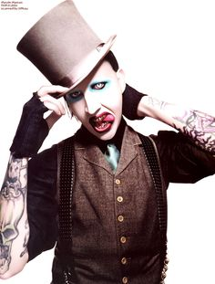 """Everybody knows Marilyn Manson, this American rock singer with his emo look was known worldwide thanks his famous cover song of """"Sweet Dreams"""" from . Art Metallica, Marilyn Manson Makeup, Rock Bands, Brian Warner, Funny Tattoos, Creepy Tattoos, Wedding Tattoos, Axl Rose, Iron Maiden"""