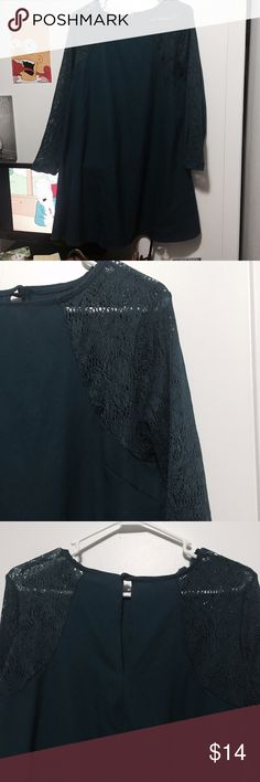 Blue lace long sleeved dress Navy Blue dress with long sleeves. If your arms are longer then it's more like 3 quarter length. A little above knee length with heels on (5'10) it's a very nice dress I wore it for graduation parties and a wedding. I'm not 100% sure about the brand. Forever 21 Dresses Midi