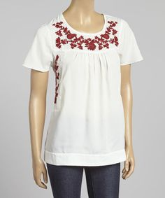 Look what I found on #zulily! Ivory & Red Embroidered Scoop Neck Top #zulilyfinds