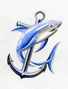 Shark & Anchor Tattoo Design by davepinsker Hai Tattoos, Cute Tattoos, Tribal Hai, Tribal Shark Tattoos, Anker Tattoo Design, Hammerhead Shark Tattoo, Shark Drawing, Tattoo Samples, Free Tattoo Designs