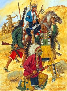 Indian warriors - Wooden Leg, Scaby, No Two Horns and Little Bird in battle Native American Paintings, Native American Photos, Native American Artists, Native American Indians, Indian Artwork, Indian Paintings, Sioux, American Indian Wars, Pierre Brice
