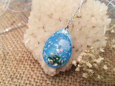 Sea Resin Necklace - Blue Teardrop Pendant - Pressed Flower Necklaces - Resin Jellyfish Pendant - Moss Jewelry - Blue Resin Jewelry by FlowerPoems on Etsy