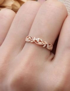 Oval Moissanite Engagement Ring set Rose gold engagement ring curved wedding band Cluster Bridal Jewelry Promise Anniversary gift for women - Fine Jewelry Ideas Rose Gold Engagement Ring, Vintage Engagement Rings, Diamond Wedding Bands, Leaf Wedding Band, Antique Wedding Rings, Engagement Bands, Modern Wedding Rings, Wedding Band Rings, Engagement Rings Nature