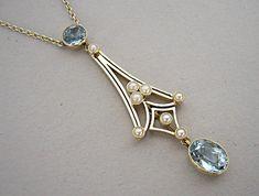 Beautiful Edwardian 15ct Gold Aquamarine Pearl Lavalier Pendant Chain 1910