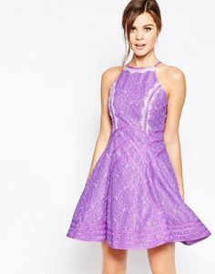 Forever Unique Daphne Skater Dress with Eyelash Lace Trim