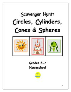 This project requires students to locate 26 items in the shape of circles, cylinders, cones or spheres.  Items include those found in nature, clothing, gift wrap, quilts, household products, coins, buttons, logos, etc.  Students then make a poster divided into sections with titles and objects then displayed.