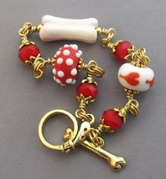 Dog Lover Bracelet Red Polka Dots Heart Bone Gold at For Love of a Dog