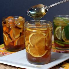 We make this type syrups long long time ago. 5 Natural Honey Citrus Syrups--soothe a cold or flu and add yummy flavor to hot water or tea. via The Yummy Life Cold Remedies, Natural Home Remedies, Herbal Remedies, Health Remedies, Sore Throat Remedies, Natural Medicine, Herbal Medicine, Cough Medicine, Cough Syrup