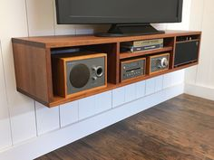 Wall mounted tv and video cabinet. Floating Media Console, Floating Tv Stand, Floating Cabinets, Stereo Cabinet, Media Cabinet, Console Cabinet, Sideboard, Wall Mounted Tv Console, Entertainment Center Wall Unit