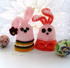 Crochet Egg Cozy - Egg Warmer - Easter Bunny - Set of 2