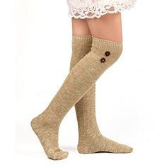 5ef2b784a Deamyth Women Thigh High Socks Stockings Over Knee Leggings Stockings  Cotton Fall Winter (Khaki)