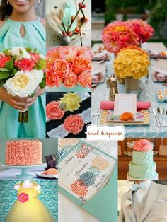 Inspiration | #Coral #Turquoise and #Yellow Wedding by @Nicole Novembrino Novembrino Novembrino Novembrino Pringle