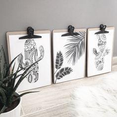 Artprint Trio tropical cactus noir et blanc 20x30 : Affiches, illustrations, posters par ma-deco-lifestyle