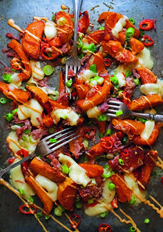 Chunky butternut wedges make great bedfellow with shredded ham hock, chilli, spring onions, strong Cheddar and mozzarella. Serve with a robust green salad dressed in a peppery vinaigrette for a delicious sharing dish. Green Salad Dressing, Ham Hock, Winter Dishes, Vinaigrette, Paella, Mozzarella, Cheddar, Fries, Salads
