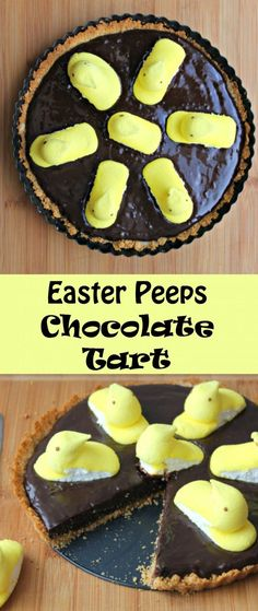 Easter Peeps Chocolate Tart -  A decadent chocolate tart with the whimsy of Easter via Peeps.  The flavors in this tart, are a nod to s'mores, with the graham cracker crust!