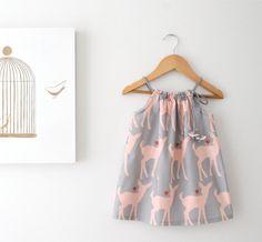Baby Girl Summer Dress-Deer Love-grey and pink cotton-toddler infant jumper-beach sundress-Handmade Children Clothing by Chasing Mini. on Etsy, $42.55