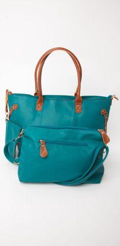 Teal faux leather tote bag #handbag #danielli #dartmouth