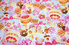 Disney Cartoon Mickey and Minnie Print Japanese fabric
