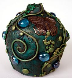 Butterfly Ceramic and Polymer clay Mikasa Vase by MandarinMoon, via Flickr