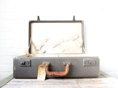 Vintage Black Leather Suitcase - Antique Distressed Hard Case  - Luggage w/ Tan Cream Lining