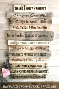 Does your family have rules to live by? Create a unique family heirloom for your rustic home! Compose a list and have it wood burned onto reclaimed wood for a super special piece of family artwork. #familyrulessign #largewallart #woodwalldecor #familyheirloom #famhousewalldecor #countryhomedecor