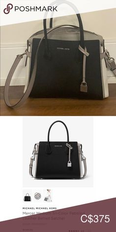Tri-coloured satchel Tri-coloured satchel. Clean with minimal usage and wear. Retails for $448+tax selling for $375 Michael Kors Bags Satchels Michael Kors Black, Satchels, Pebbled Leather, Gym Bag, Black And Grey, Minimal, Belt, Best Deals, How To Wear