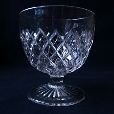 Early American Patterned Glass Goblet: Prism Diamond side view
