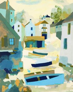 Buy art online- Cadgwith Boats- signed limited edition silkscreen print by contemporary artist Richard Tuff from CCA Galleries. St Just, Coastal Art, Buy Art Online, Naive Art, Silk Screen Printing, Love Painting, Beach Art, Landscape Art, Urban Landscape