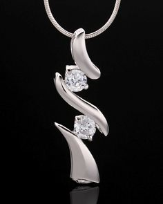 sterling silver cremation pendant, three curved bands each separated by two gemstones, screw in bottom, silver snake chain slides through hole in top point of band