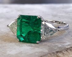 3.67 carat Emerald Engagement Ring Emerald & by RavenFineJewelers