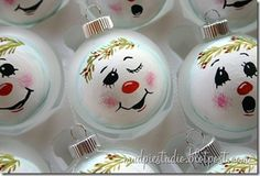 Cute hand painted snowman ornaments