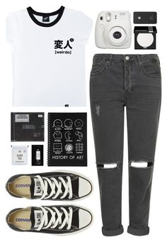 """""""Over And Out"""" by ellac9914 ❤ liked on Polyvore featuring Illustrated People, Topshop, Converse, MAKE UP FOR EVER and Incase"""