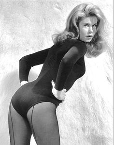Vintage Glamour Elizabeth Montgomery Wearing A Black Bodysuit and Black Back Seam Pantyhose