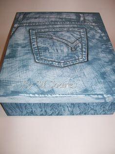 Artesanatos  Silvana Soares: caixa efeito jeans