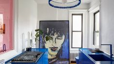 See Inside Designer Harry Nuriev's Electric Blue Apartment Brooklyn Apartment, York Apartment, One Bedroom, Bedroom Wall, 2018 Interior Design Trends, Williamsburg Apartment, Circular Chandelier, American Interior, Blue Cabinets
