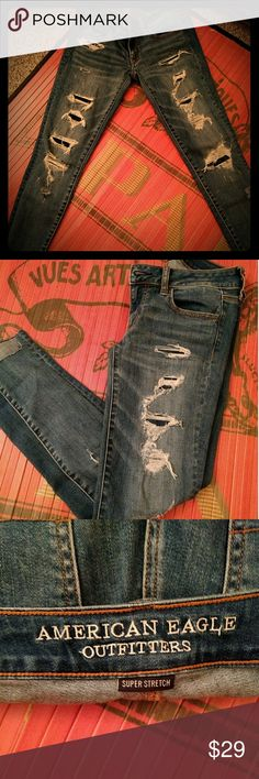 American Eagle Super Stretch Low Jegging Perfectly distressed American Eagle jeggings. Just in time for winter since they are lined underneath the distressing. American Eagle Outfitters Jeans Skinny