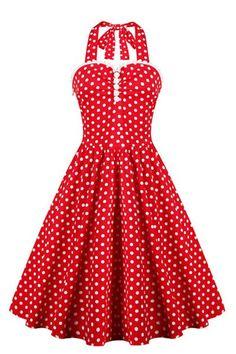 de57f85db06e Retro Style Women s Ruffled Polka Dot Halter Dress - RED S Vintage Dresses  50s