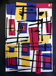 Art Room Using Mondrian. I like the printed black lines in this take on Mondrian. day just paint and printing intro for K Piet Mondrian, Mondrian Kunst, Kindergarten Art Lessons, Art Lessons For Kids, Art Lessons Elementary, Mondrian Art Projects, First Grade Art, Ecole Art, Preschool Art