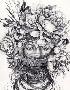 Beautiful detailed drawings by Portland based artist, Christina Mrozik, captivate and intrigue the soul and psyche. With a humble perspective and penchant for Dark Fantasy Art, Dark Art, Illustrations, Illustration Art, Ant Drawing, Man Vs Nature, A Level Art, Detailed Drawings, Amazing Drawings