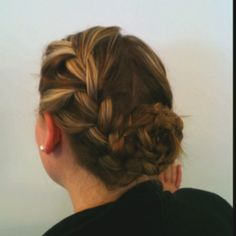 Balet inspired: Start by dividing into the paths and tie one side up. French braid the one side to the tip and use an elastic band to keep hair together while busy on second braid. Braid second side and twirl into a bun and secure with pin. Wrap first braid around bun and clip.