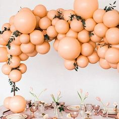 giant balloon arch in peach and pink pastel hues // modern bridal shower or easter tablescape, Balloon Backdrop, Balloon Display, Balloon Arch, Balloon Garland, Balloon Decorations, Balloon Columns, Table Decorations, Décoration Baby Shower, Peach Baby Shower, Baby Showers