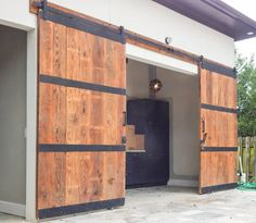 Built a set of exterior barn doors for a pool house opening. I used genuine reclaimed barn wood and steel with a simple exterior finish. Barn Door Garage, Exterior Sliding Barn Doors, Old Barn Doors, Barn Doors For Sale, Garage Door Design, Double Barn Doors, Diy Barn Door, Sliding Doors, Exterior Barn Door Hardware