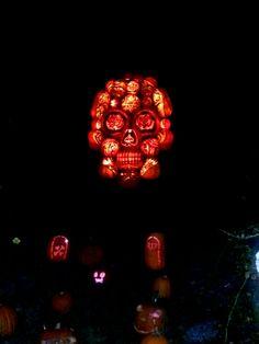 Skull head made from Jack o lanterns