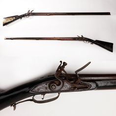 J. Graeff Flintlock Rifle - This .60 caliber flintlock rifle was made by John Graeff, a Lancaster, Pennsylvania gunsmith and militiaman during the Revolutionary War.  It has a daisy-head patchbox and stock with incised carvings.  This Lancaster rifle is an example of those typically used by Pennsylvania militiamen. At the NRA National Firearms Museum in Fairfax, VA.