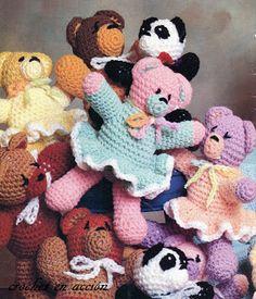 Coorful Dancing Bears  Crochet In Action Pattern: amigurumis