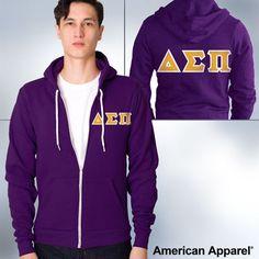 American Apparel Delta Sigma Pi Zip Hoody   SomethingGreek.com