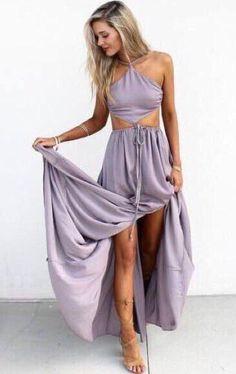 Halter Maxi Chiffon Prom Dress, Long Party Dress